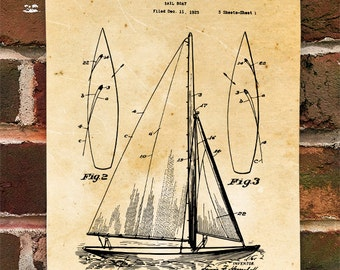 KillerBeeMoto: Duplicate of Original U.S. Patent Drawing For Vintage 1920's Sailboat