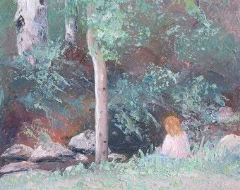 Landscape painting, canvas art, Australian impressionist landscape art, paintings of trees, gum trees, Etsy art, Jan Matson