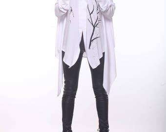 White Tunic Blouse / Paradox / Loose Shirt Dress / Hand Painted Blouse / Oversize Tunic / Designer Tunic / Asymmetrical Tunic PB0021
