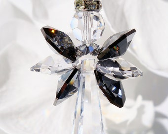 Guardian Angel Car Charm Black and Silver Swarovski Crystal Rear View Mirror Accessories