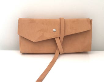 Wrap Around Leather Clutch, leather bag, leather pouch, clutch bag, clutch purse, bridesmaid gift