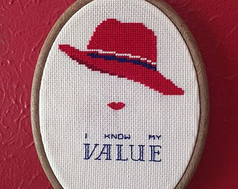 I Know My Value (Agent Carter) cross stitch pattern
