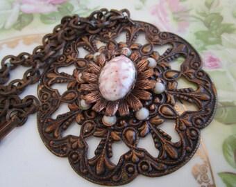 Antique Art Deco HUGE Copper Medallion Pendant Statement Necklace Confetti pink Glass