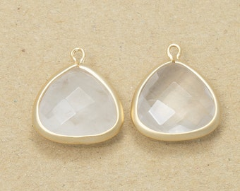 Crystal Gemstone Pendant, Jewelry Craft Supplies, Glass Pendant, Matte Gold Plated over Brass - 2 Pieces-[SGP0006]-CRYSTAL/MG