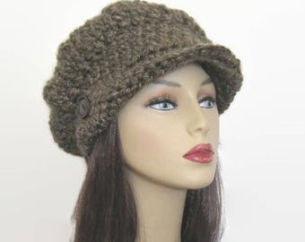Crochet Newsboy Hat Brown Slouch Newsboy Cap Adult Brown Tweed Cap with Visor Brown Tweed  Newsboy with Visor Knit Hat with Brim
