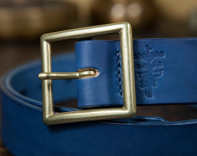 """1.5"""" Natural Indigo Dyed Leather Garrison Belt with Japanese Brass Buckle Handmade to order in Los Angeles"""