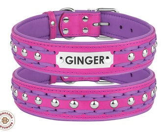 Personalized Dog Collar Leather Laser Engraved Tag Braided Studded Extra Large Pink Purple