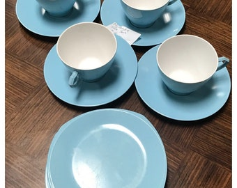 Set of 4 Eileen Melamine Teacups with Saucers + 3 FREE Plates