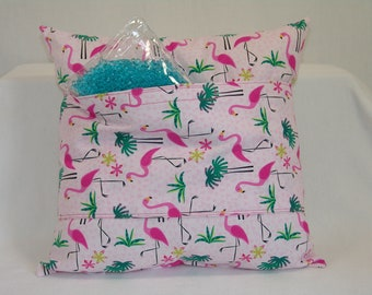 Recovery pillow w pocket,Cancer, bypass, hernia, gastric , Surgery Support, Hysterectomy, Mastectomy, Hot flashes, post-op, flamingos
