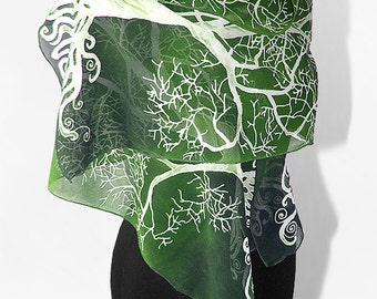 Long silk scarves White Tree in Green scarf hand painted hand made scarf fantasy - green white - tree scarf - silk scarves