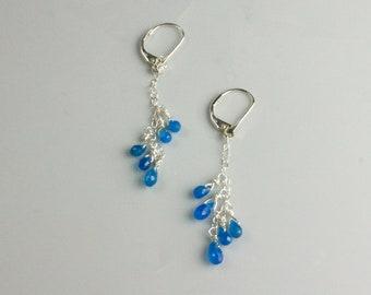 Sterling Silver Apatite Briolette Dangle Earrings - Marked Down!