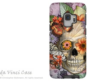 Butterfly Sugar Skull Case for Samsung Galaxy S9 - Day of the Dead S9 Case with Art - Butterfly Botaniskull - Dual Layer Case