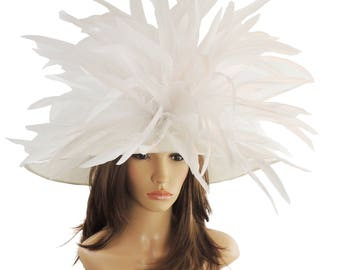 White Collared Dove Hat for Kentucky Derby, Weddings (40 colours available)