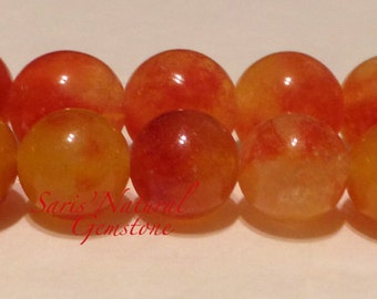 jade beads Natural, Two Tones round beads, Orange red, 14 mm, Hole  2 mm