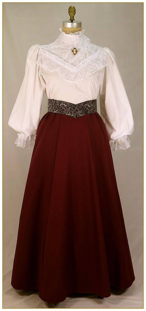 Victorian Skirts | Bustle, Walking, Edwardian Skirts Victorian Gabardine Skirt Berry Wine $65.00 AT vintagedancer.com