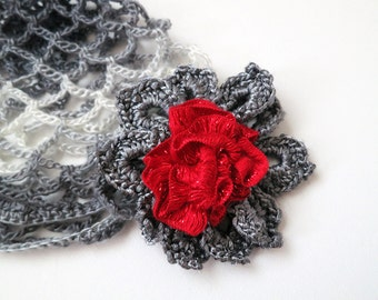 Light Dark Gray White Color Crocheted Cap Flapper Hat with Gray Red Crochet Flower