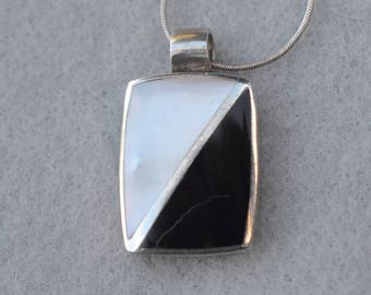 Sterling Mother of Pearl and Onyx Pendant Necklace Vintage