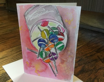 Original Watercolor Greeting Cards - Lollipops Hand Painted Cards - Handmade Cards - Blank Cards - Sweets Watercolor Note Cards