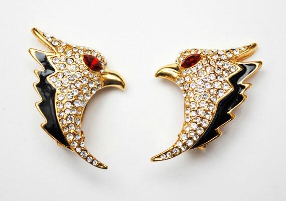 rhinestone Bird earrings Eagle  black enamel gold plated metal Figurine bird earrings