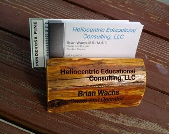 Wooden Business Card Holder with Custom Engraving