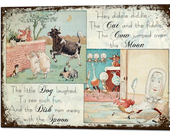 Hey Diddle Diddle Nursery Vintage Metal Sign Retro Tin Plaque Holiday