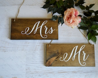 Rustic Wedding Chair Signs, Mr and Mrs Wedding Sign, Wooden Chair Signs, Bride And Groom Photo Prop, Sweetheart Table Decor, Boho Wedding