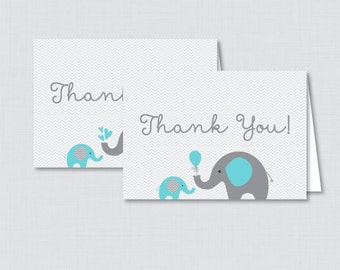 Printable Elephant Baby Shower Thank You Card - Printable Instant Download - Aqua and Gray Chevron Elephant Thank You Card - Elephant 0024-A