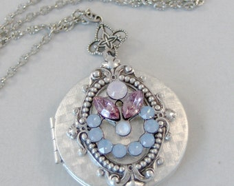Sacred Bloom,Alexandrite Necklace,Alexandrite Necklace,Opal Locket,Pink Opal,Blue Opal,Swarovski Necklace,Locket,Antique Locket,Blue,Swarovs