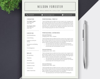 Creative Resume Template Word | Professional Resume | CV Template | Cover Letter | Modern and Simple Resume | Instant Download CV | NELSON
