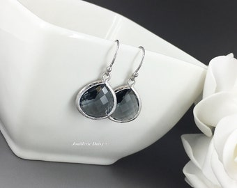 Dark Grey Dangle Earrings Bridesmaid Gifts Wedding 2017 Charcoal Dark Gray Gifts for Her Jewelry Maid of Honor Gift for Mother Best Friend