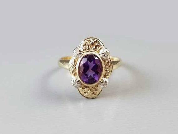 Modern estate 14k two tone yellow and white gold purple amethyst diamond ring, size 6-3/4