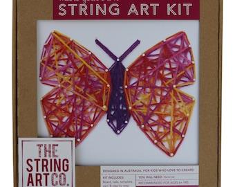 String Art Kit: Butterfly, Pink Multi-coloured, Craft Kit, String Art Pattern, Teen Craft, Kids Craft Gift,