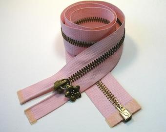 Zipper closure, 64.5 cm, pink, separable, mesh metal bronze 6 mm.