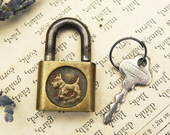 Vintage Small Miniature Scottie Dog Collar Padlock Lock w/ Key Repurpose Assemblage Altered Art  Jewelry Charm