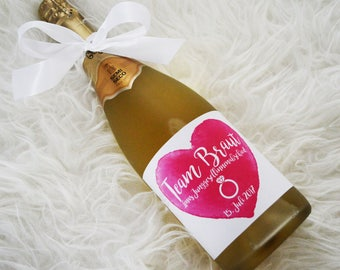10 x bottle labels wedding champagne JGA team bride