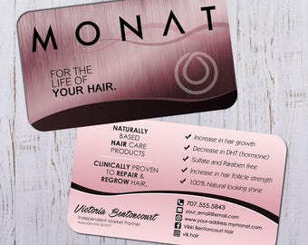 Monat Business Cards - Rose Gold Design with Rose Back - Durable 16pt - Rich Matte Finish -PRINTED and SHIPPED directly to YOU!