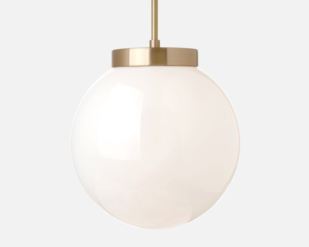 Glass Globe 10 Pendant Light with Stem Solid Brass