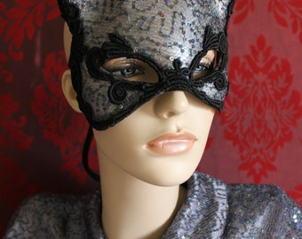 Russian Blue - Irridescent Grey Sequined Leather Kitty Cat Mask With Silk Lace Detail.- Ready to ship
