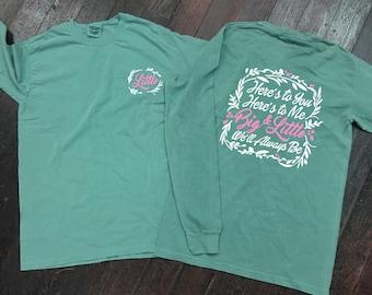 Big/Little/Gbig Floral Sorority Comfort Colors Long Sleeve T-Shirt