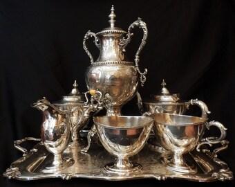 1835 Silver Serving Set by Meriden Britannia Co, Tray by Wilcox - International Silver Co -Rochelle tray 2721/2