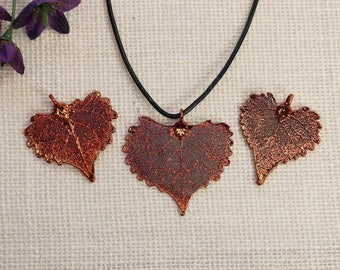 SALE Leaf Necklace, Copper Leaf, Boho Jewelry, Cottonwood Leaf, Real Cottonwood Leaf Necklace, Heart Shaped  Leaf Pendant, SALE375
