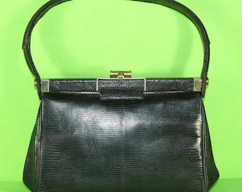 Hand bag/evening handbag in lizard leather