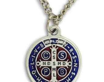 Saint Benedict Medal and Chain. St Benedict Medal. Saint Benedict Cross. Saint Benedict Necklace. St. Benedict Pendant.