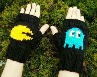 Retro Arcade Inspired Fingerless Gloves - Hand Knit Retro Gaming Gloves - Cosplay Gloves with Blue Ghost