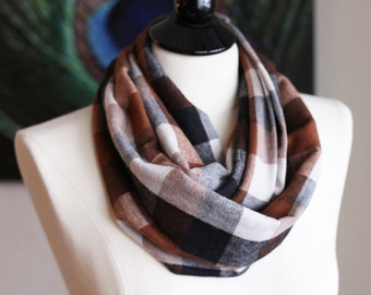 Infinity Scarf - Flannel - Brown, Tan & Cream