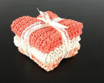 Mango orange dishcloth//Dishcloth set//washcloth