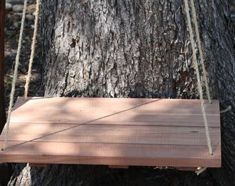"Hanging Wood Shelf, wood shelf, reclaimed Texas Cedar, Large 24"" x 15.75"" or Small 12""x12"" rustic home decor, side table bedside table"