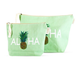 Aloha Pineapple Accessory & Cosmetic Bag