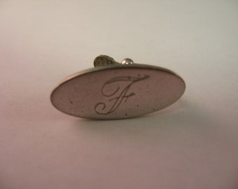 "Vintage Men's Tie Bar Clip Jewelry: ""F"" Letter Initial Oval"