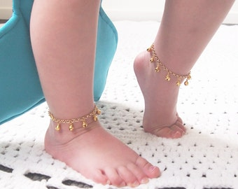 Baby Shower Gift, Gold Ankle Bracelet, First Birthday Baby Girl, New Baby Gift, Gypsy Wedding, Bell Anklet, Boho Flower Girl, Modern baby